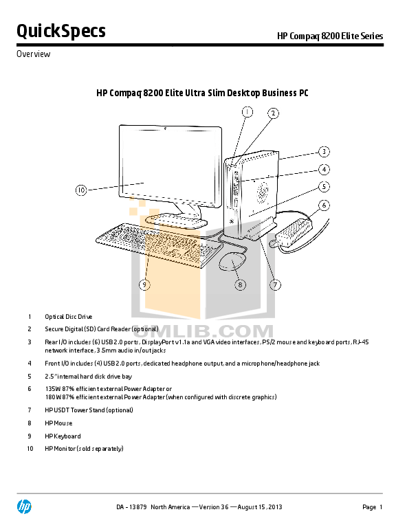 Download free pdf for HP Compaq Elite 8200 SFF Desktop manual
