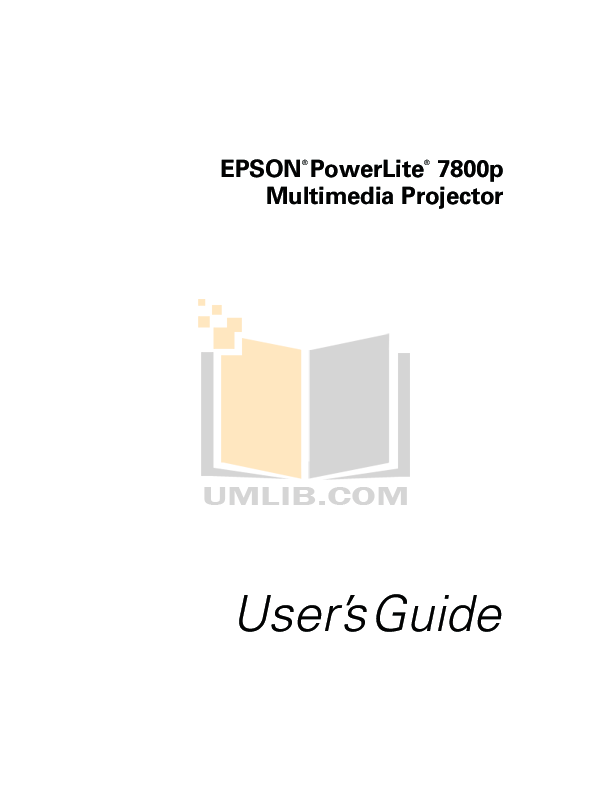 Download free pdf for Epson PowerLite 7800p Projector manual