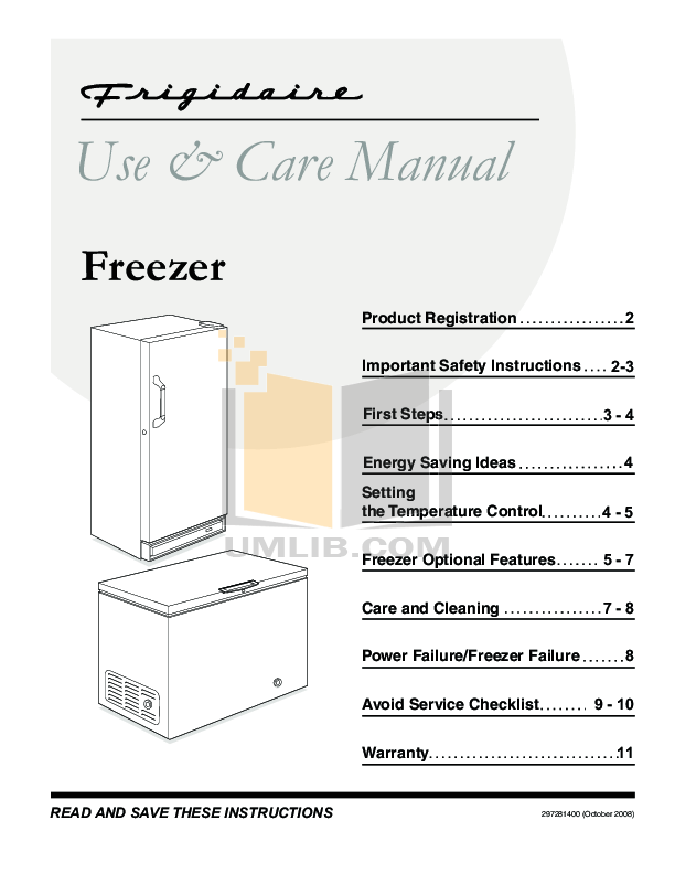 PDF manual for Frigidaire Freezer FKFH21F7HW