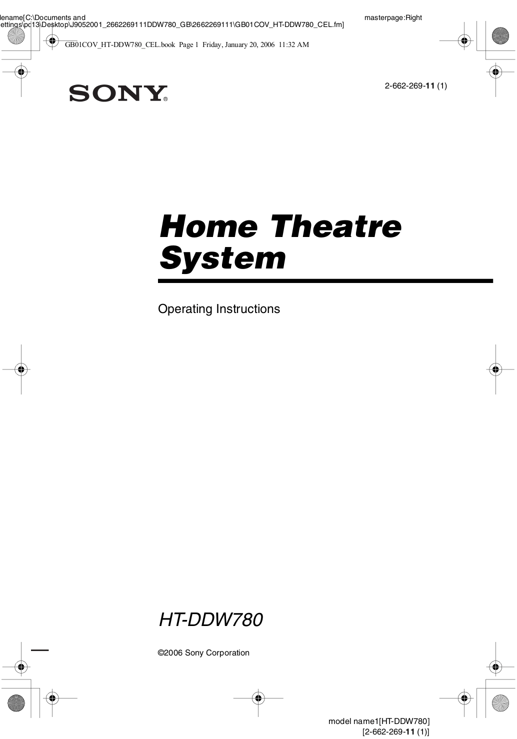 Download free pdf for Sony HT-DDW780 Home Theater manual