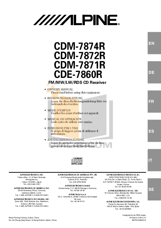 Download free pdf for Alpine CDM-7871 Car Receiver manual