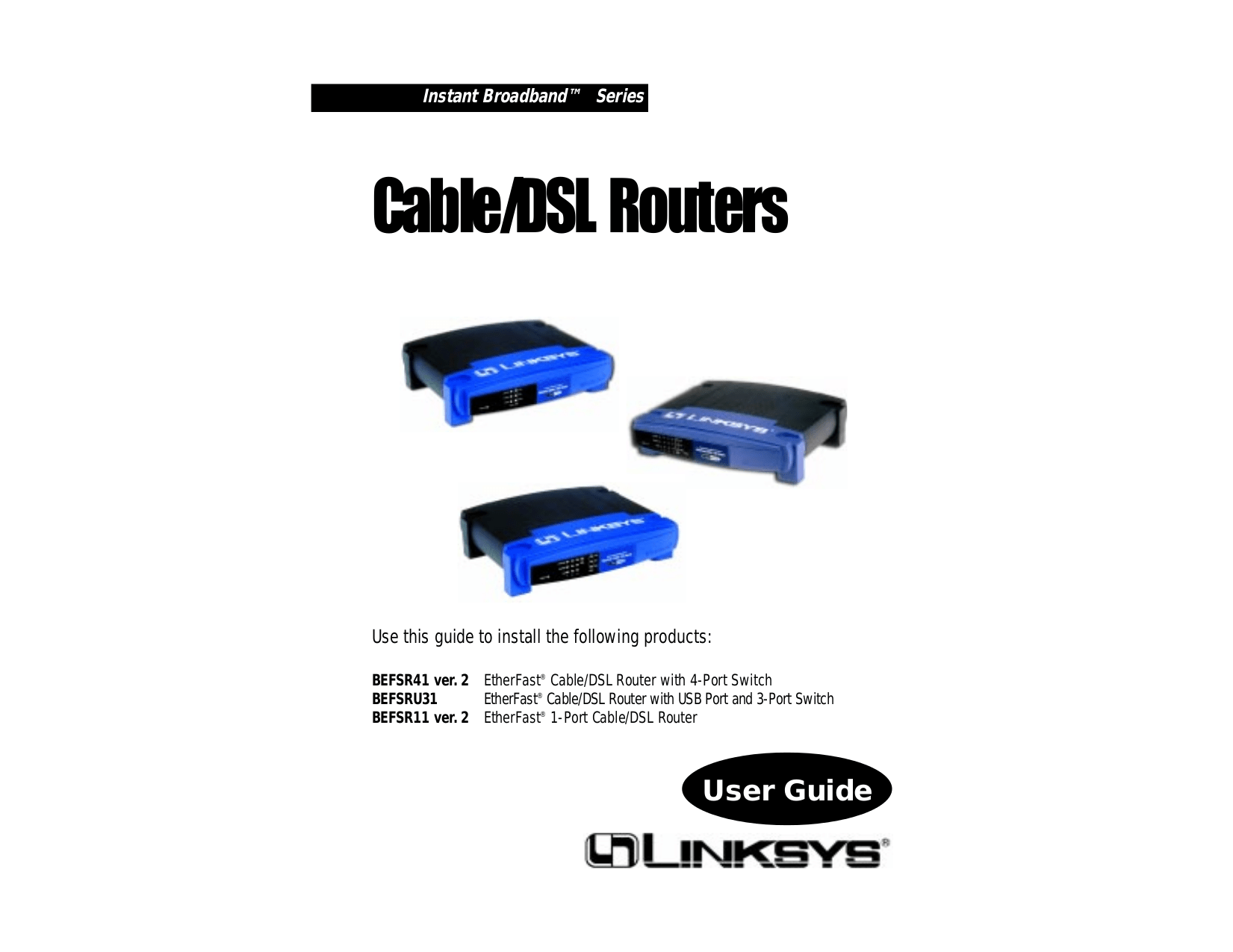 Download free pdf for Linksys BEFSR41 Router manual