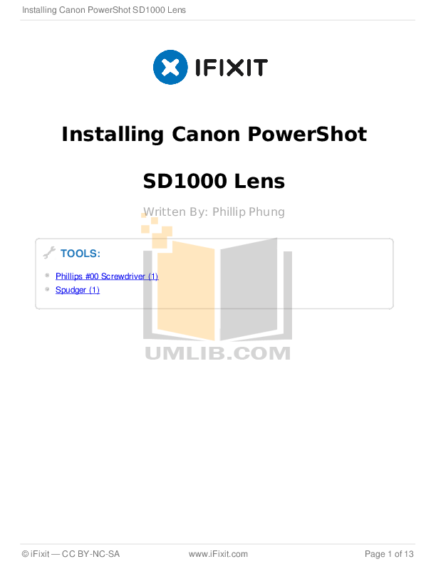 Download free pdf for Canon Powershot SD1000 Digital