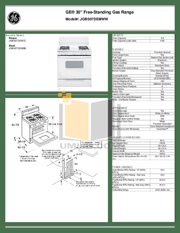 Download free pdf for GE JGBS07DEM Range manual