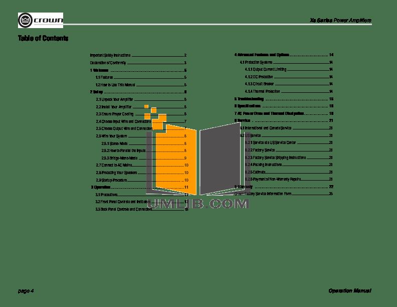 PDF manual for Crown Amp XS500