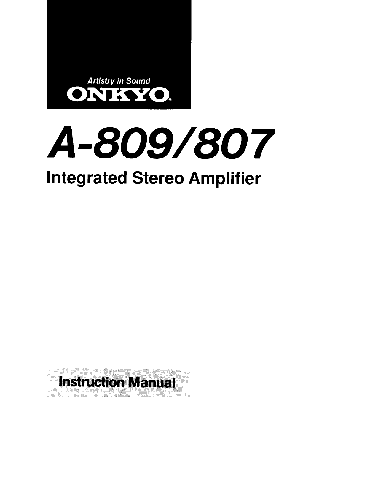 Download free pdf for Onkyo A-809 Amp manual