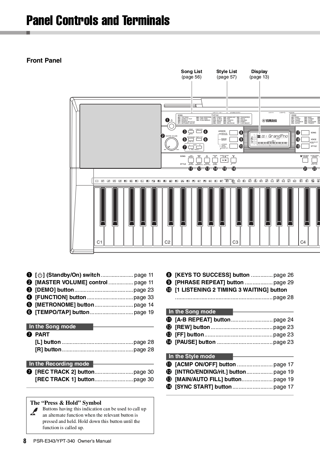 PDF manual for Yamaha Music Keyboard PSR-340