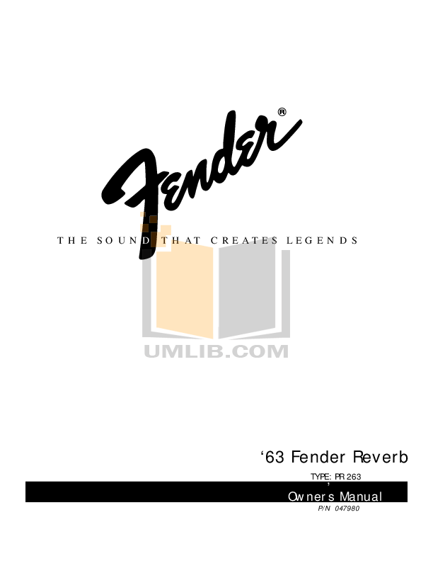 Download free pdf for Fender 63 Reverb Amp manual