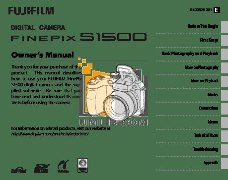 Download free pdf for FujiFilm Finepix S1500 Digital