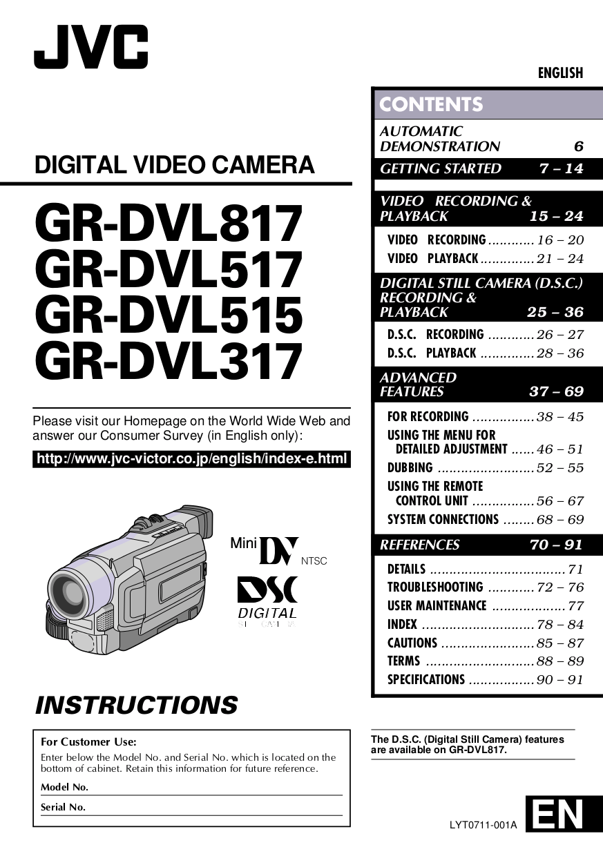 PDF manual for JVC Camcorders GR-DVL517U