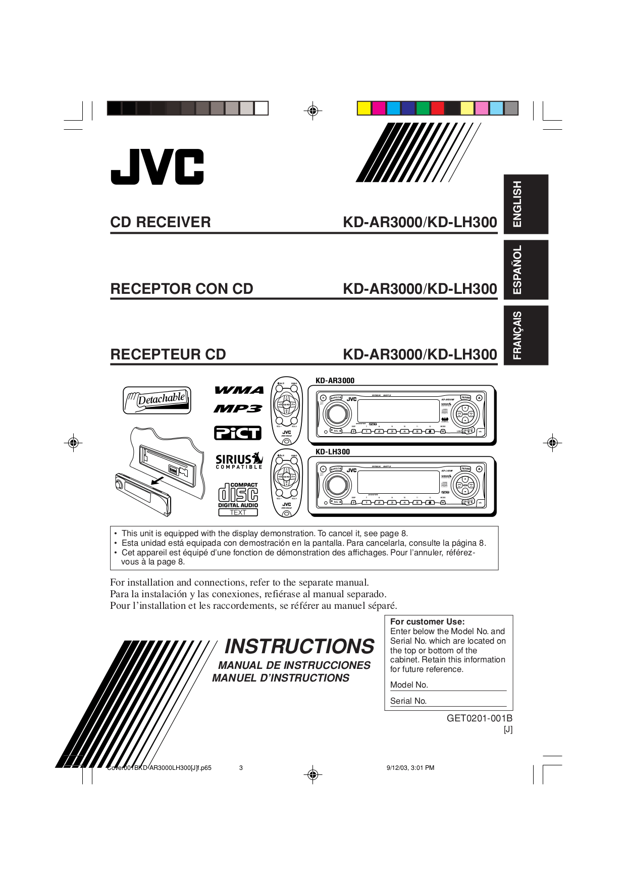 Download free pdf for JVC KD-AR3000 Car Receiver manual