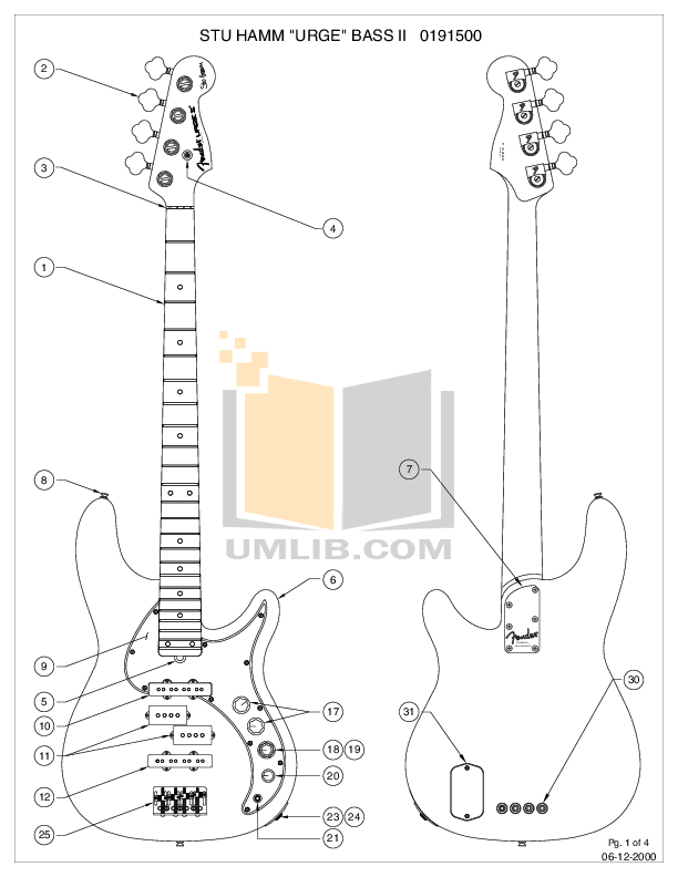 PDF manual for Fender Guitar Stu Hamm Urge Bass II