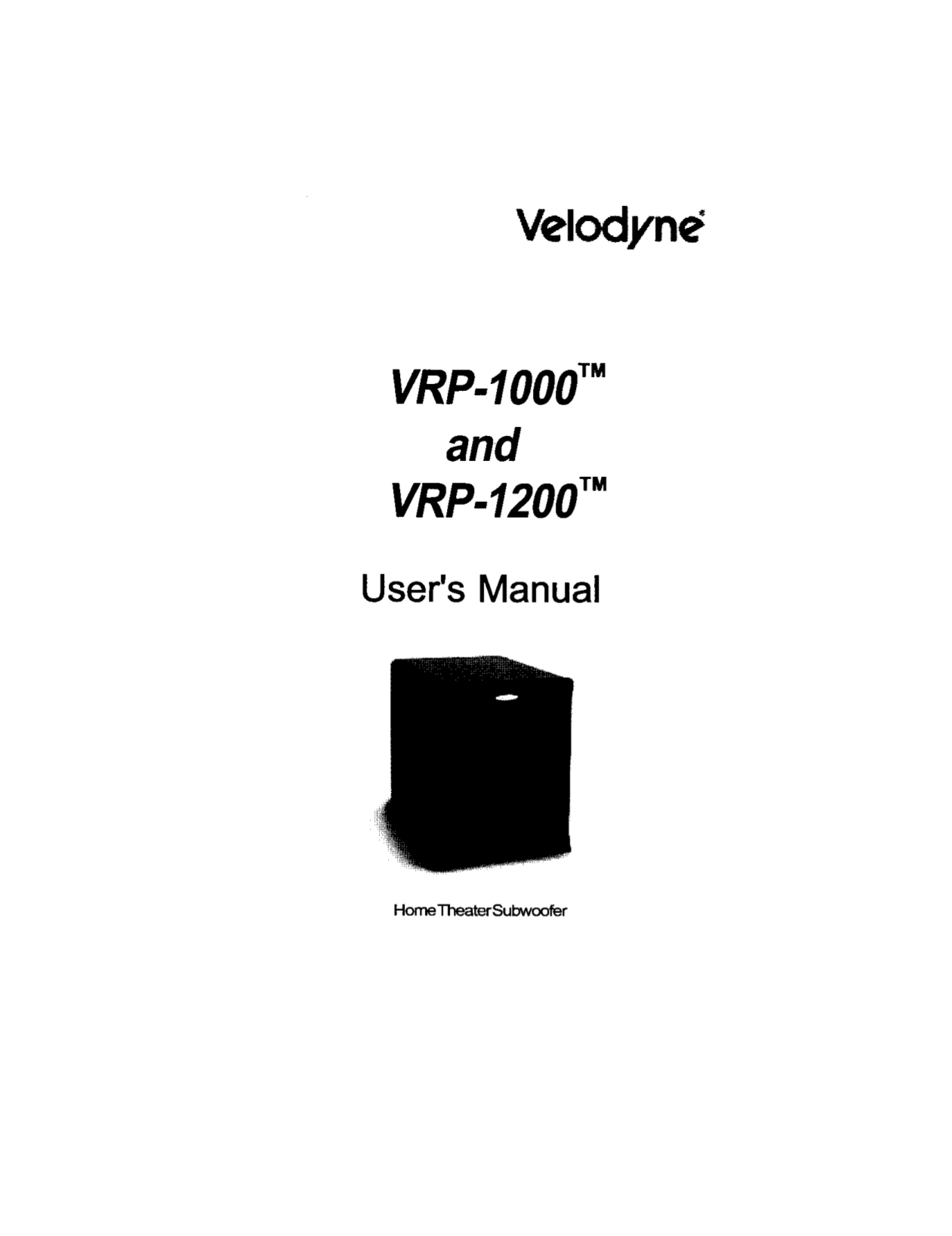 Download free pdf for Velodyne DLS-3500 Subwoofer manual