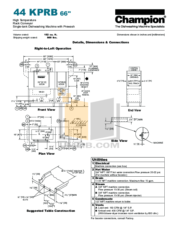 PDF manual for Champion Dishwasher 44KPRB