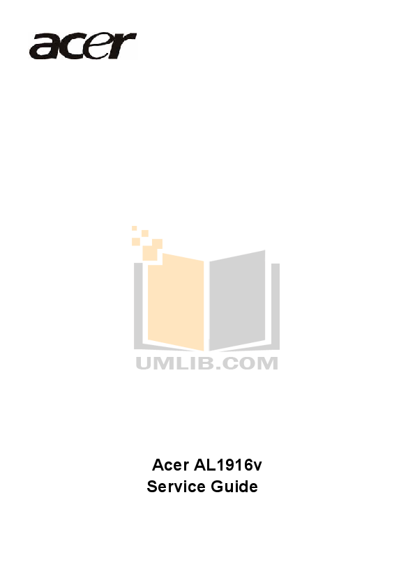 Download free pdf for Acer AL1916 Monitor manual
