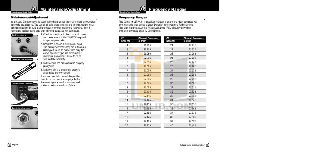 PDF manual for Cobra 2-way Radio 19 Ultra III