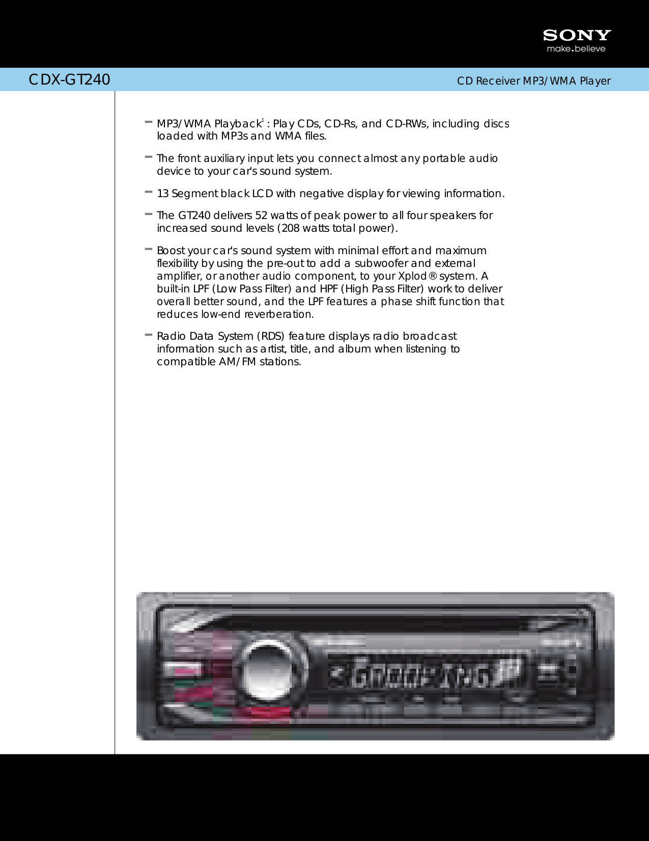 hight resolution of pdf for sony car receiver xplod cdx gt240 manual