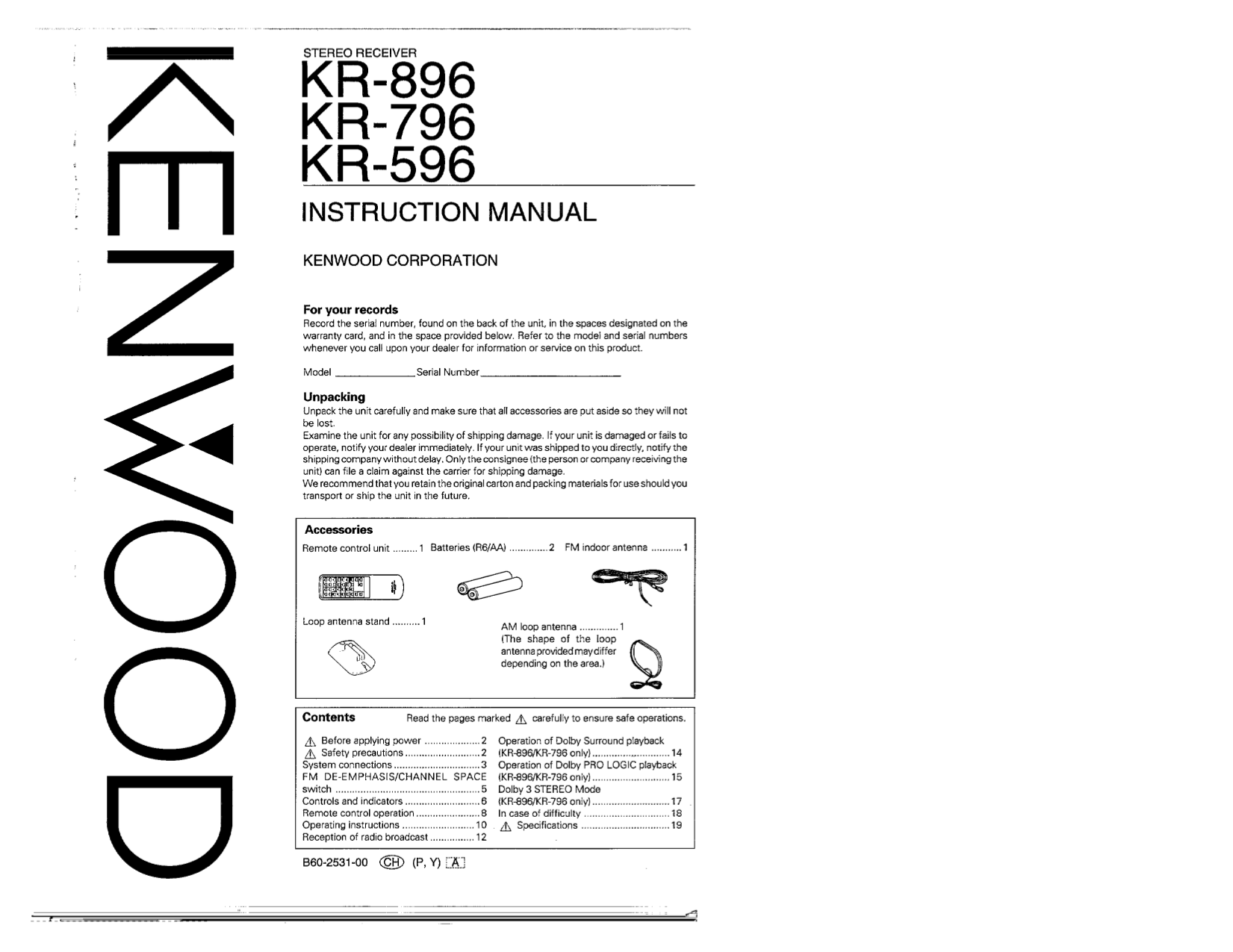 Download free pdf for Kenwood KR-596 Receiver manual