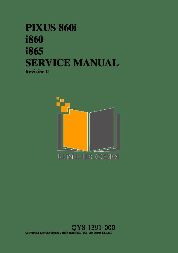 PDF manual for Canon Printer i865
