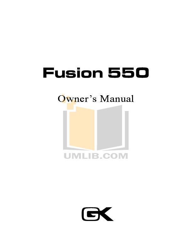 Download free pdf for Gallien-Krueger Fusion 550 Amp manual