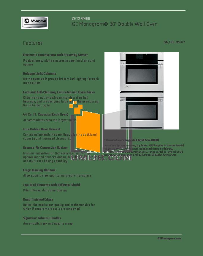 Download free pdf for GE Monogram ZET2RMSS Oven manual