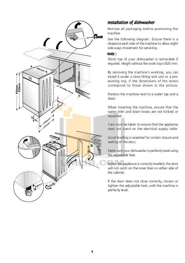 PDF manual for Beko Dishwasher DE2431F