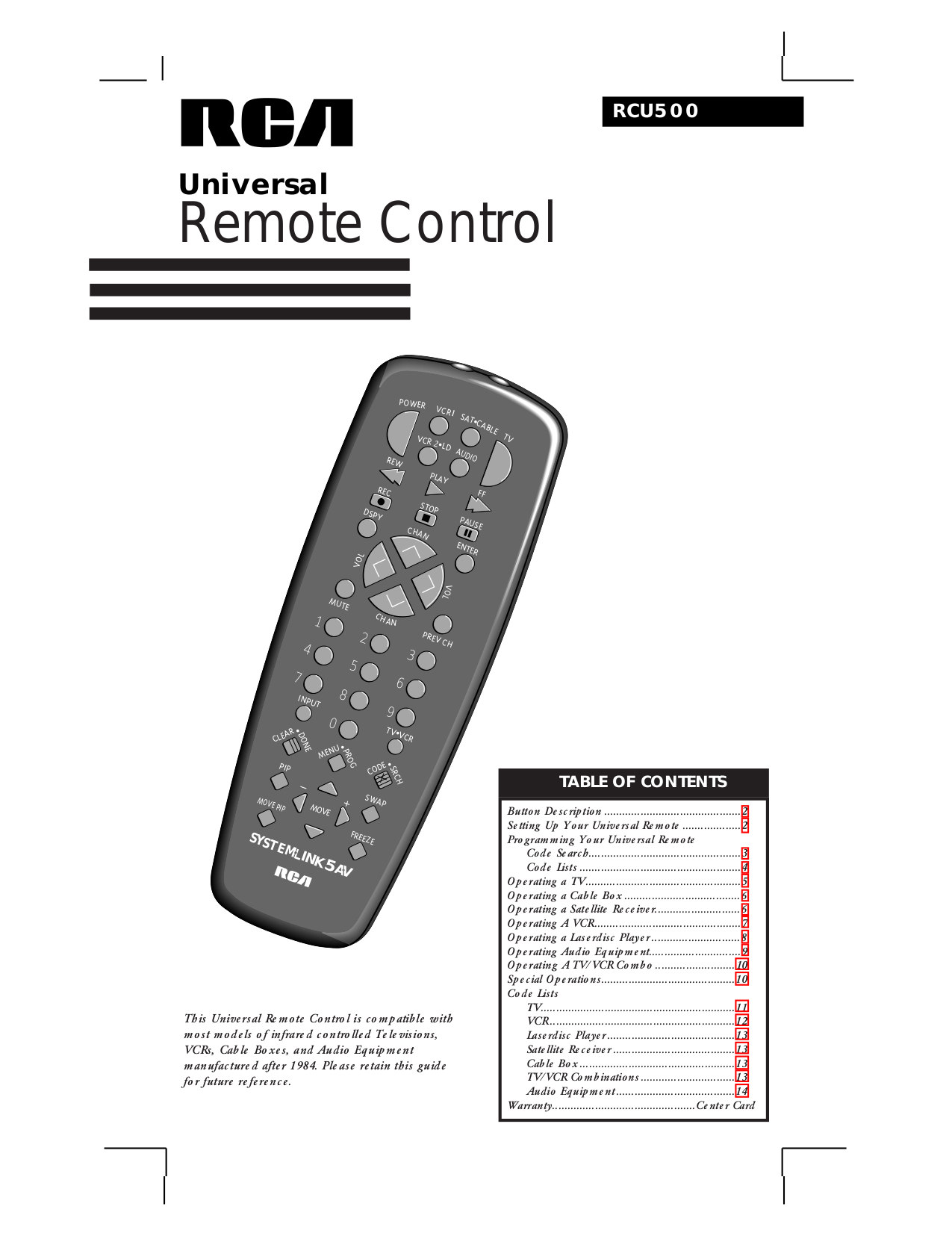 Download Gemini G401s Universal Remote Control Manual free