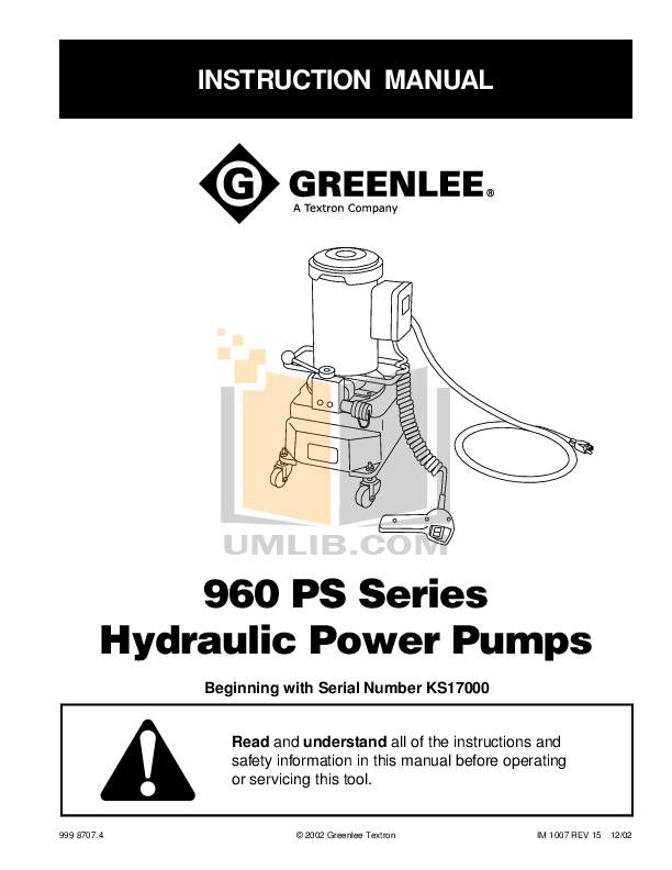 Download free pdf for Greenlee 960-PS Power Pumps Other manual