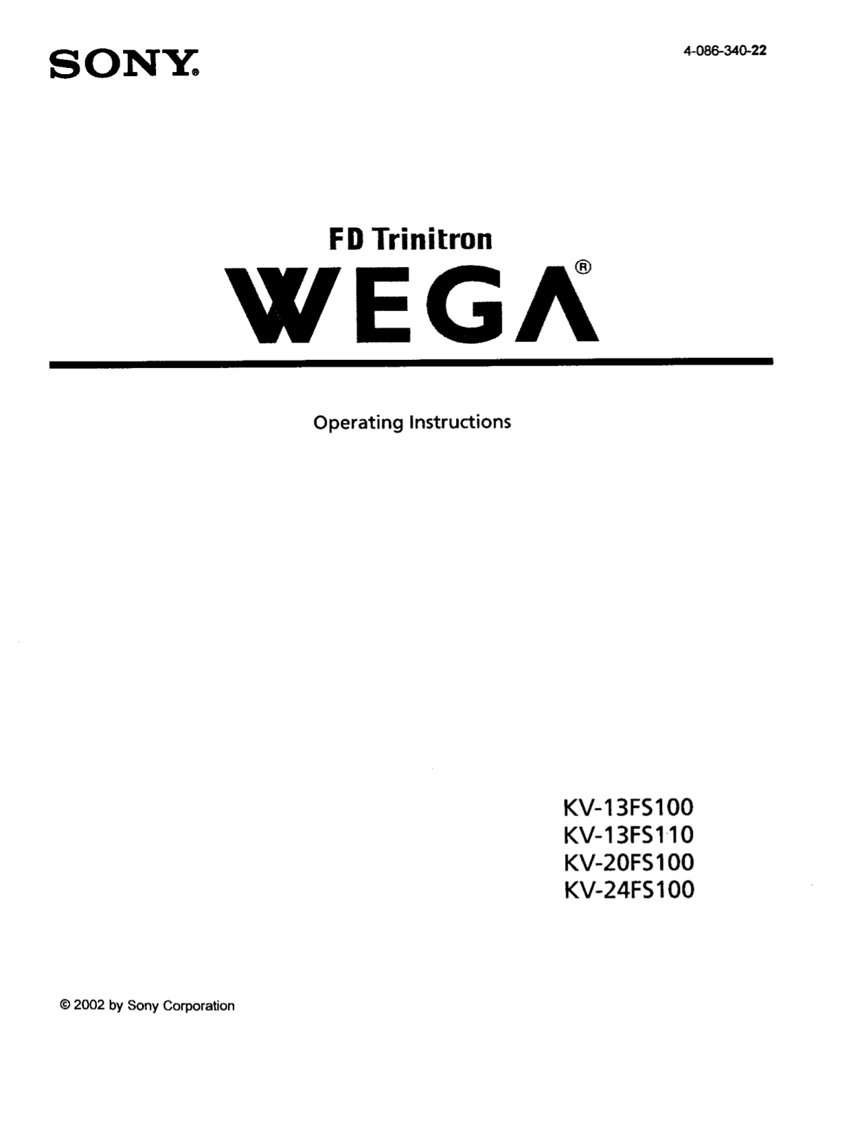 Download free pdf for Sony WEGA KV-13FS100 TV manual