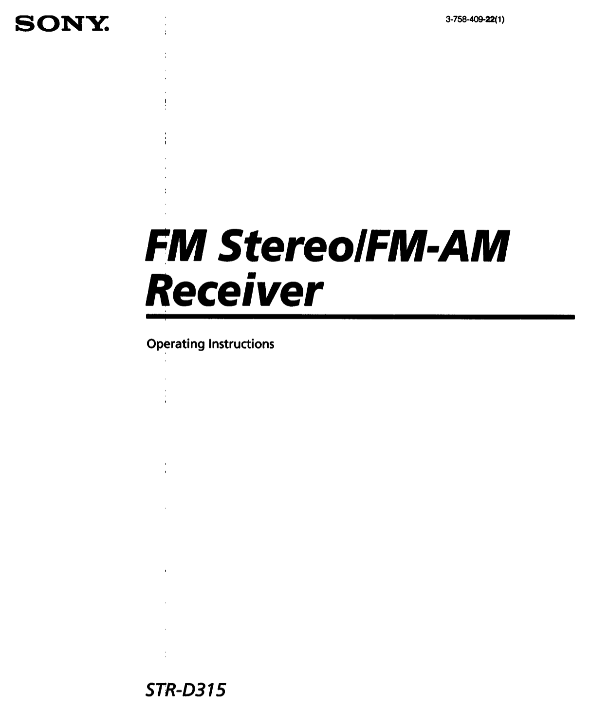 Download free pdf for Sony STR-D315 Receiver manual