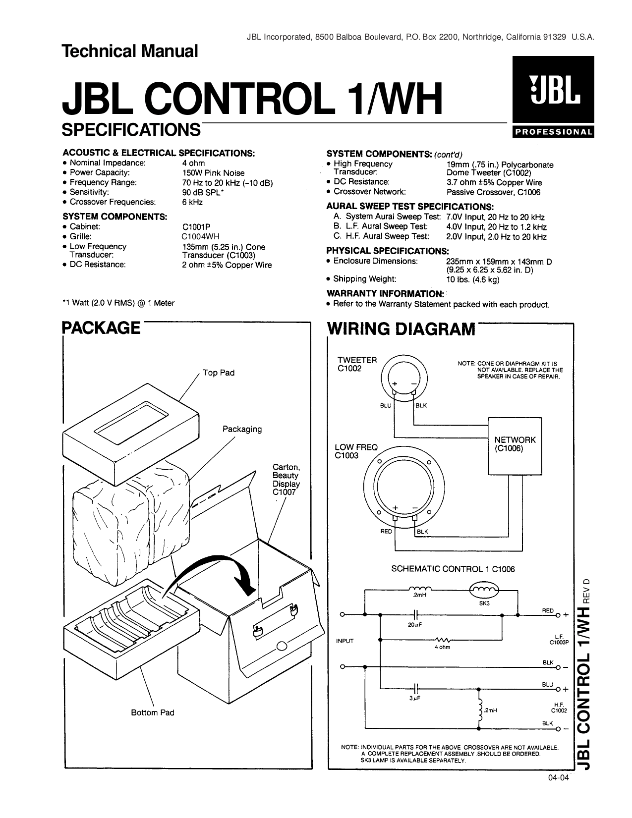 Download free pdf for JBL Control Control 1X Speaker manual