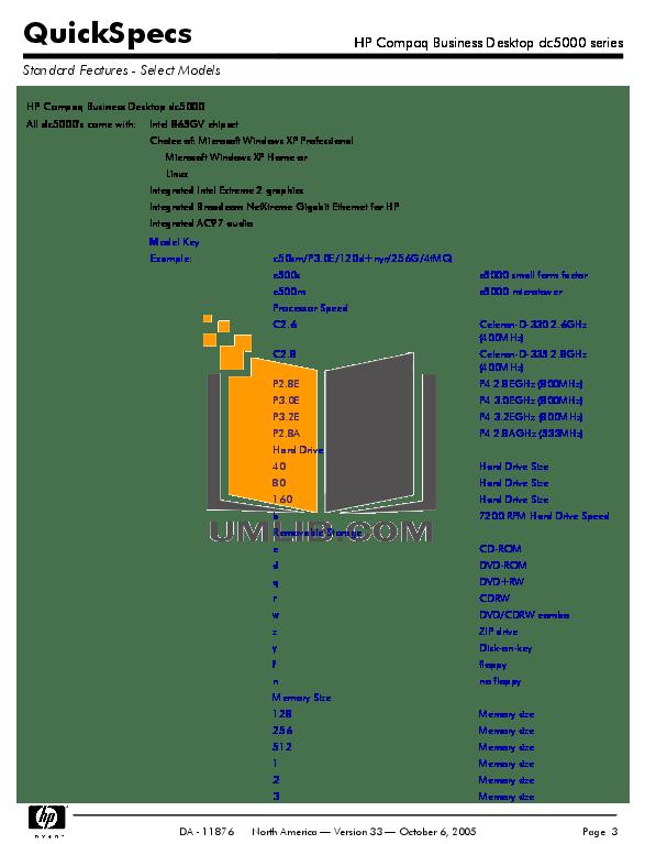 PDF manual for HP Desktop Compaq dc5000 SFF