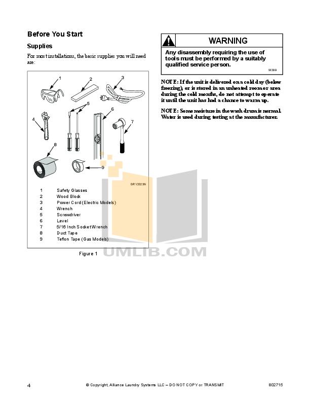 PDF manual for Frigidaire Washer GLTF1240AS0