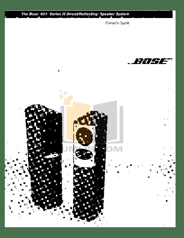 Download free pdf for Bose 501 Speaker manual