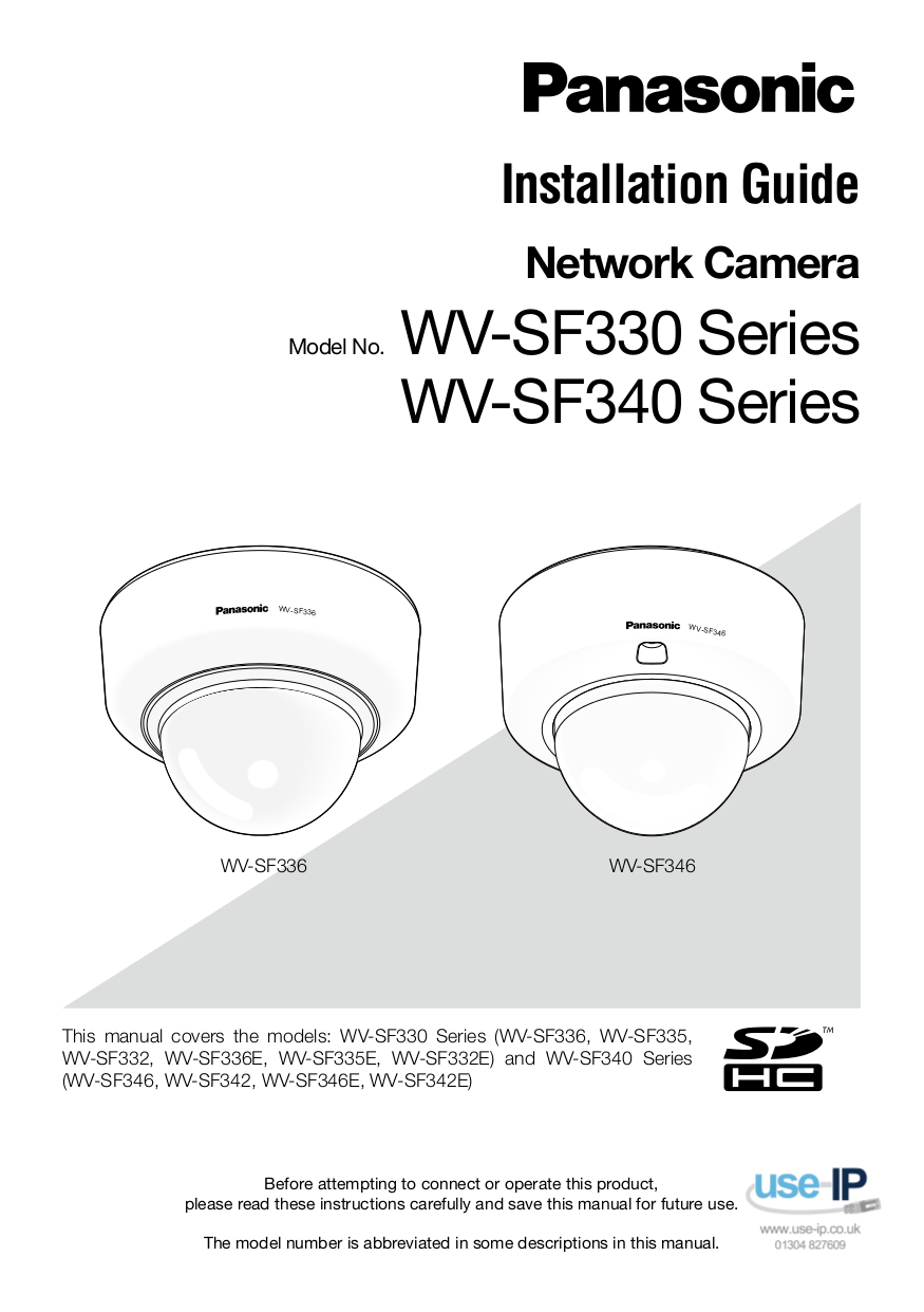 Download free pdf for Panasonic i-Pro WV-SF342 Security