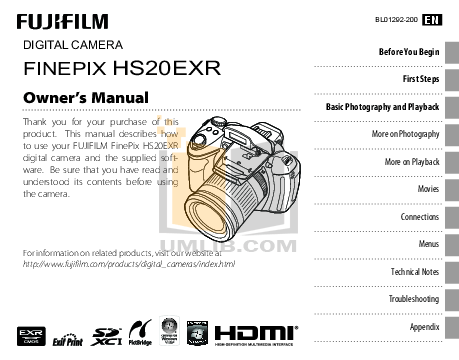 Download free pdf for FujiFilm Finepix HS20 Digital Camera