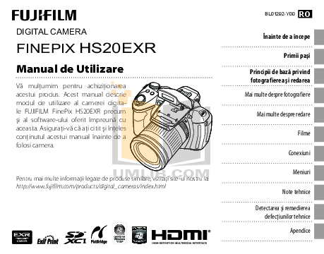 Download free pdf for FujiFilm Finepix HS20 Digital Camera