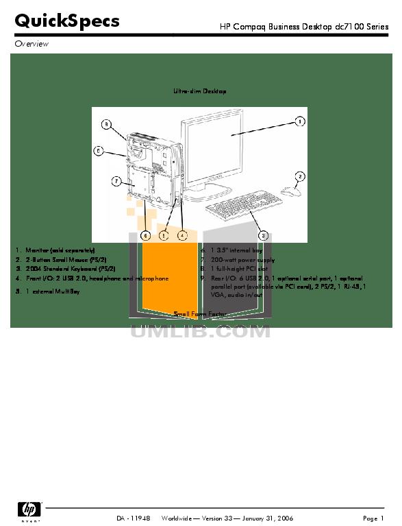 Download free pdf for HP Compaq dc7100 SFF Desktop manual