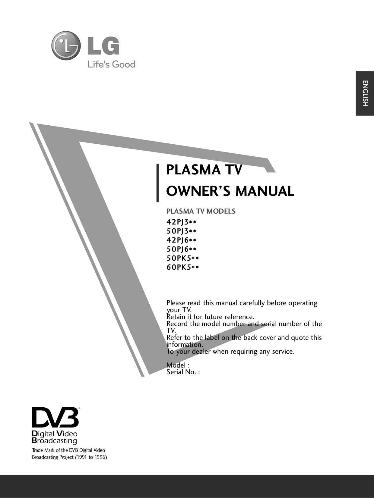 Download free pdf for LG 60PK550 TV manual