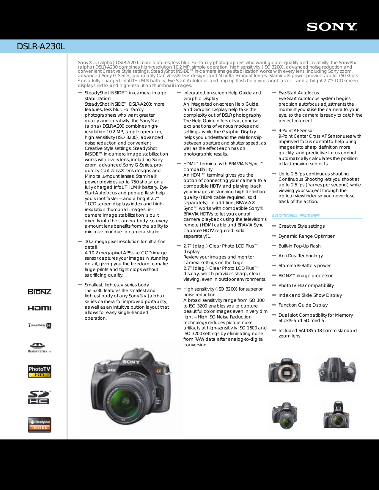 Download free pdf for Sony DSLR-A200 Digital Camera manual