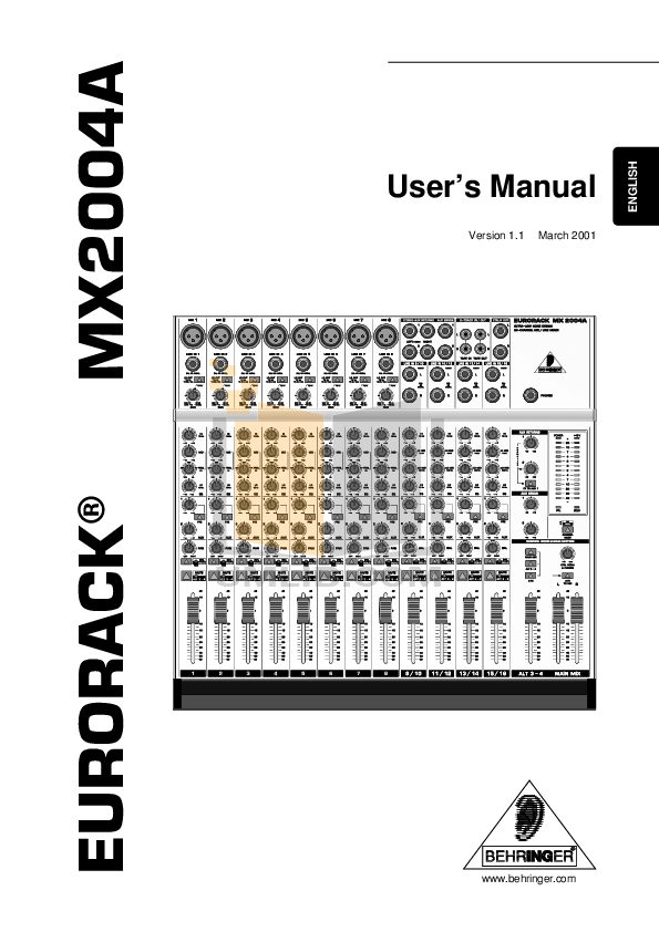 BEHRINGER MX2004A MANUAL PDF