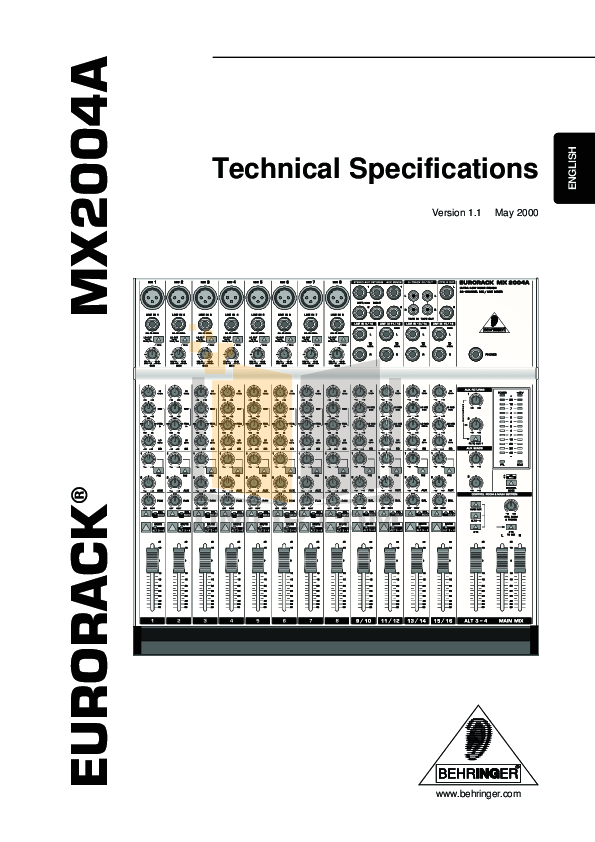 PDF manual for Behringer Other Eurorack MX2004A Mixers