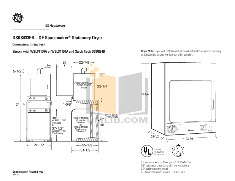 Download free pdf for GE Spacemaker WSLP1100D Washer manual