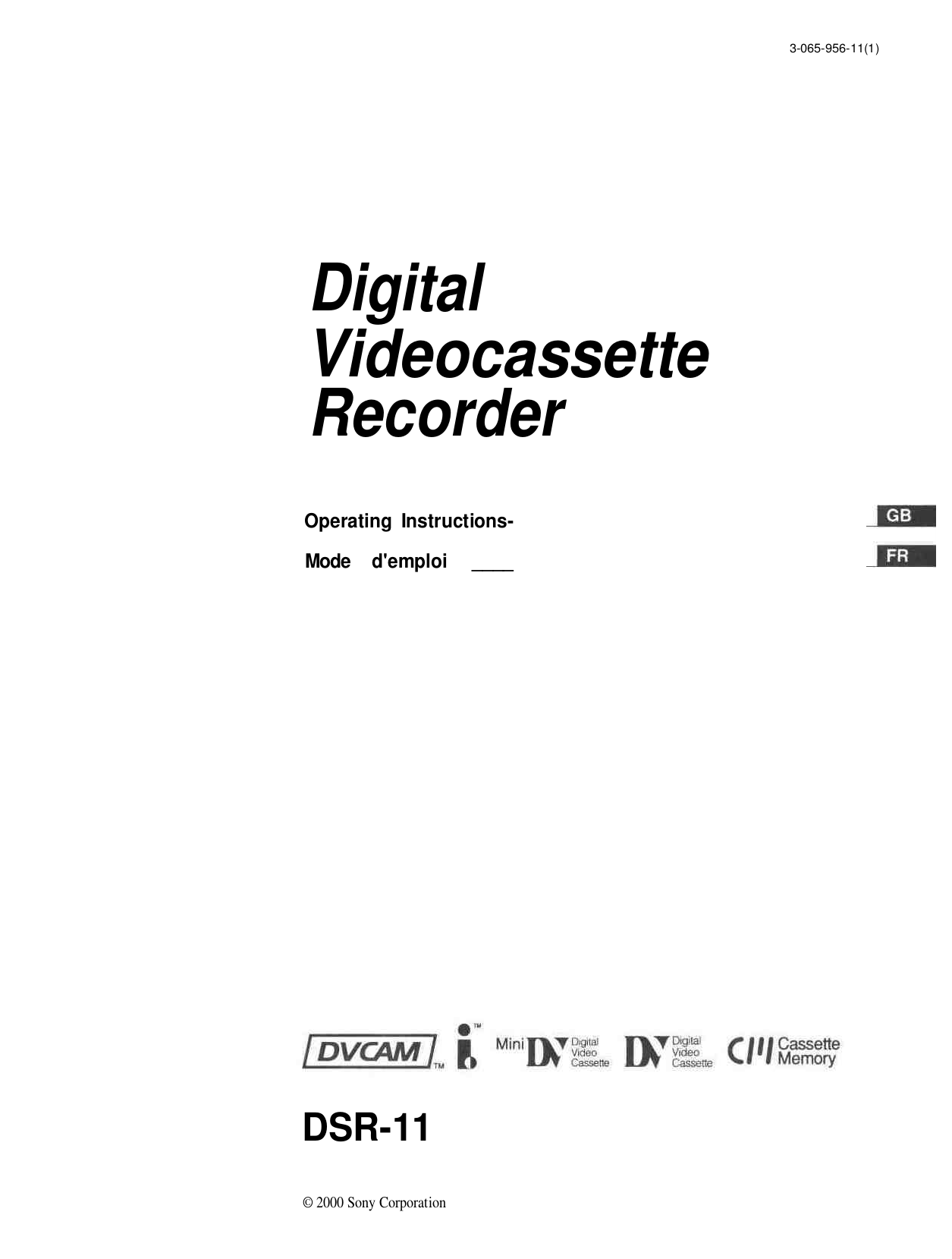 Download free pdf for Sony DSR-25 Camcorders manual