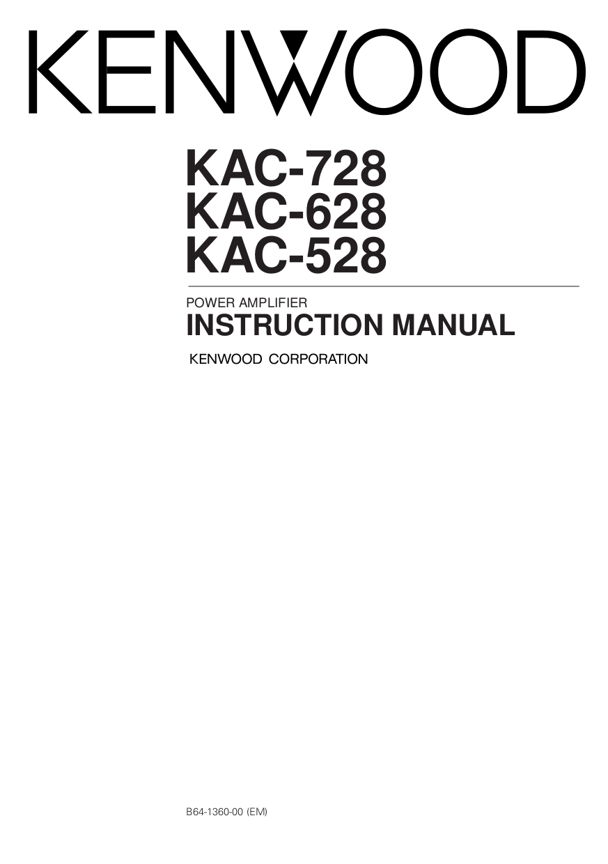 Download free pdf for Kenwood KAC-628 Car Amplifier manual