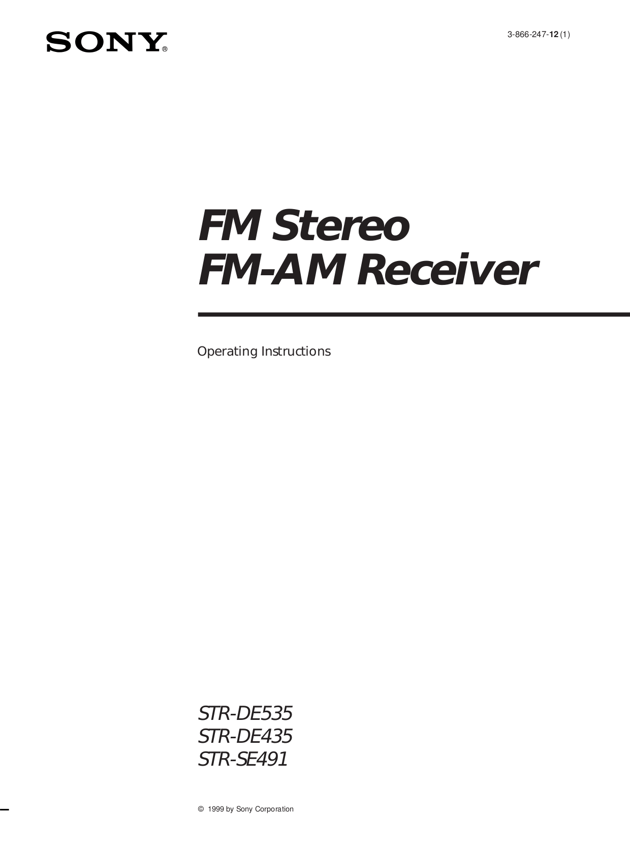 Download free pdf for Sony STR-DE475 Receiver manual