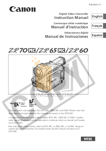 CANON ZR70MC MANUAL PDF
