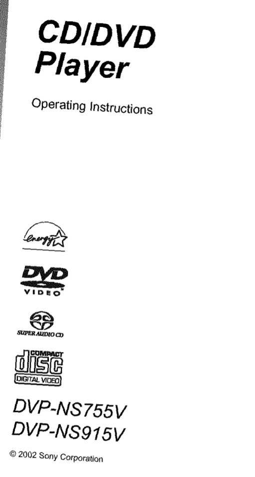 Download free pdf for Sony DVP-NS755V DVD Players manual
