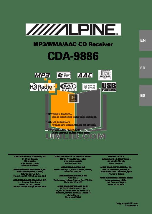 ALPINE CDA 9886 MANUAL PDF