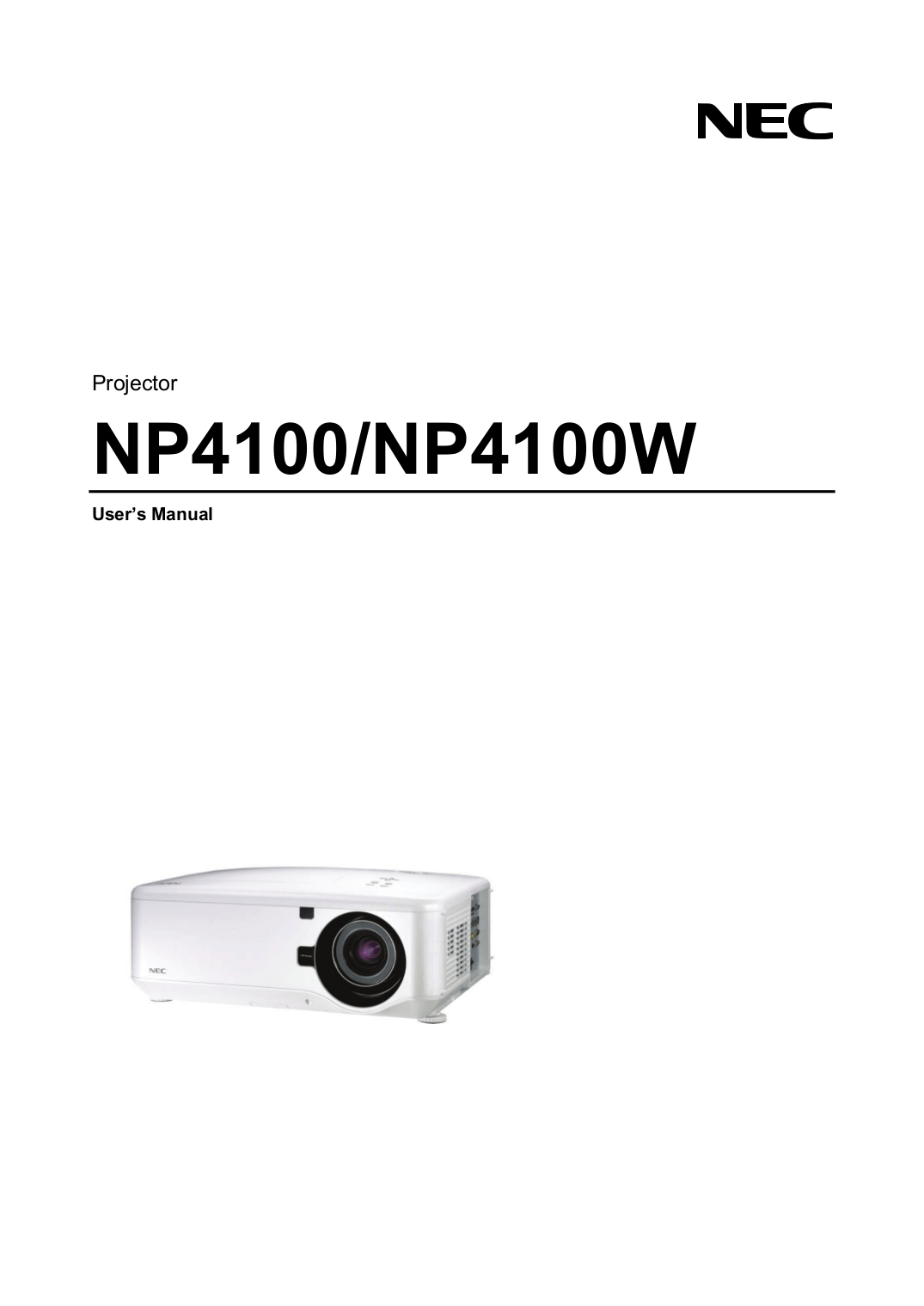 Download free pdf for NEC NP4100W Projector manual